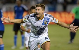 Galaxy's Steven Gerrard celebrates his first MLS goal against the Earthquakes in a MLS soccer game at the StubHub Center, Friday, July 17, 2015, Carson, CA. The score at halftime was tied 2-2.Los Angeles Galaxy vs. San Jose Earthquakes.Photo by Steve McCrank/Staff Photographer