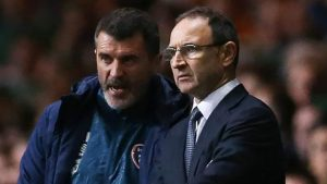 Republic of Ireland's manager Martin O'Neill (R) and Republic of Ireland's assistant manager Roy Keane (L) talk during the Euro 2016 Qualifier, Group D football match between Scotland and Republic of Ireland at Celtic Park in Glasgow, Scotland on November 14, 2014. Scotland won the game 1-0. AFP PHOTO / IAN MACNICOL        (Photo credit should read Ian MacNicol/AFP/Getty Images)